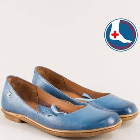Анатомични дамски обувки от естествена кожа в син цвят 1911301s