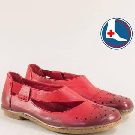 Кожени дамски обувки в червен цвят с перфорация 1911305chv