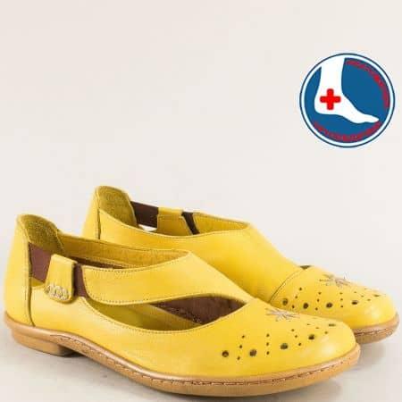 Ортопедични дамски обувки с кожена стелка в жълто 1911305j