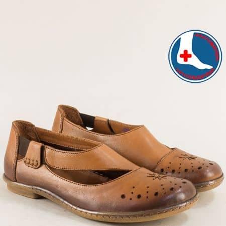 Кафяви дамски обувки на анатомично ходило с ластик 1911305k
