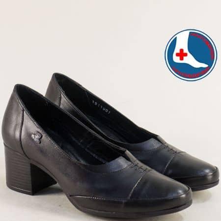 Дамски обувки от естествена кожа в черно на среден ток 1911901ch