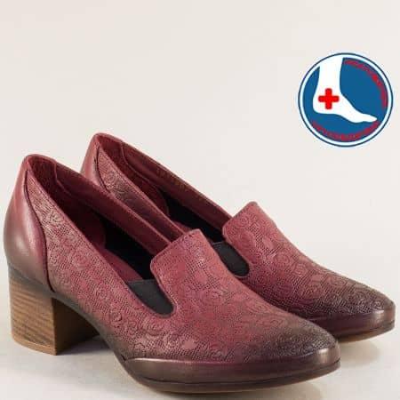 Дамски обувки на среден ток с два ластика в цвят бордо 1911902bd