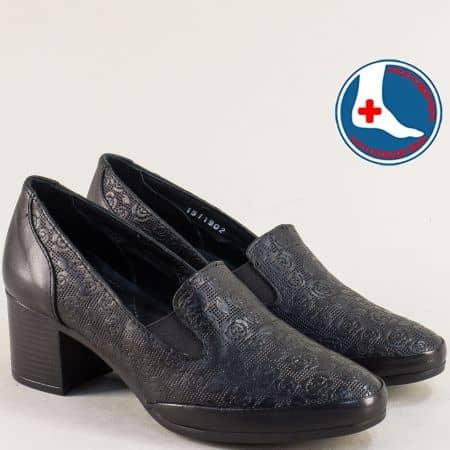 Дамски обувки с два ластика и среден ток в чеерн цвят 1911902ch