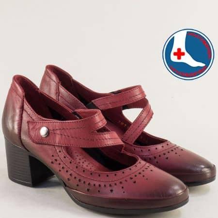 Анатомични дамски обувки от естествена кожа в бордо 1911904bd