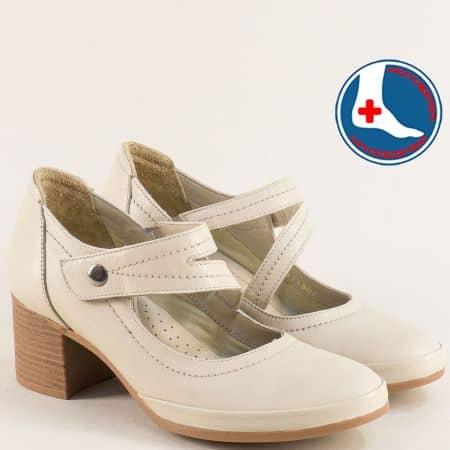 Бежови дамски обувки с кожена ортопедична стелка 1911904bj1
