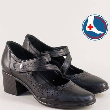 Дамски обувки с кожена стелка и лепка в черен цвят 1911904ch