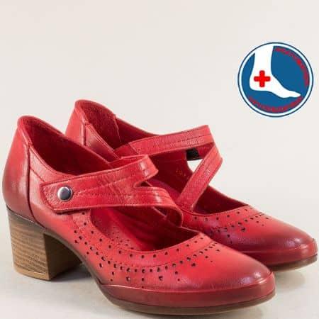 Червени дамски обувки с лепка от естествена кожа 1911904chv