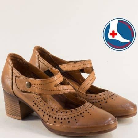 Кафяви дамски обувки на среден ток с лепка и ластик 1911904k