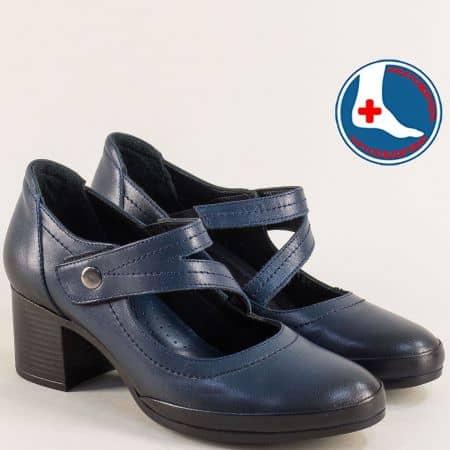 Сини дамски обувки на среден ток от естествена кожа на ортопедично ходило 1911904s1