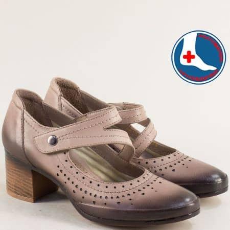 Бежови дамски обувки на среден ток от естествена кожа 1911904tbj