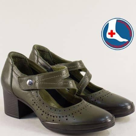 Ортопедични дамски обувки на среден ток в зелен цвят 1911904z