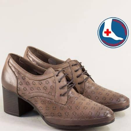 Тъмно кафяви дамски обувки на среден ток от кожа на ортопедично ходило 1911905kk