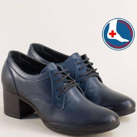 Сини дамски обувки на среден ток от естествена кожа с ортопедична стелка 1911905s