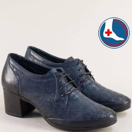 Кожени дамски обувки с връзки в син цвят на среден ток  1911905s1
