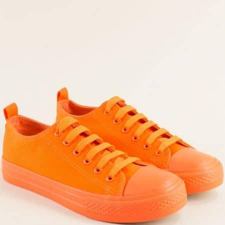 Оранжеви дамски кецове с връзки на равно ходило 192-40o