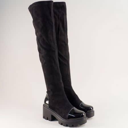 Черни дамски чизми на грайферно ходило 19209vch