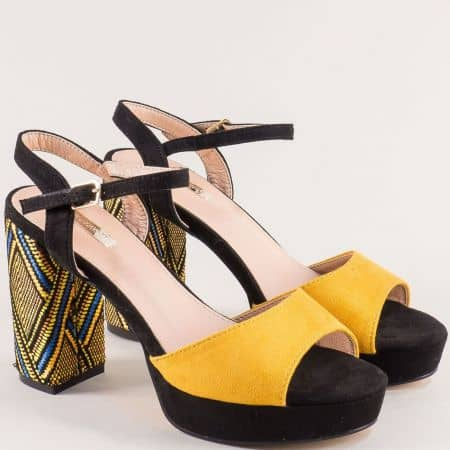 Дамски сандали в жълто и черно на стабилен висок ток 19220j