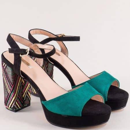 Дамски сандали на висок ток в черно и тюркоазено зелено 19220z