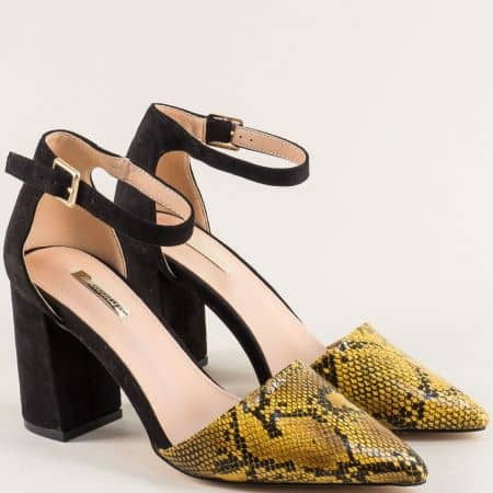 Жълти дамски елегантни сандали със затворена пета на висок ток 19294j