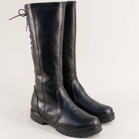 Кожени дамски ботуши с цип и връзки в черен цвят 1931711ch
