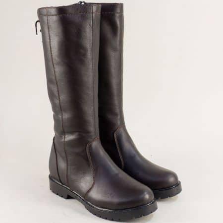 Дамски ботуши от естествена кожа в тъмно кафяво 1931711kk