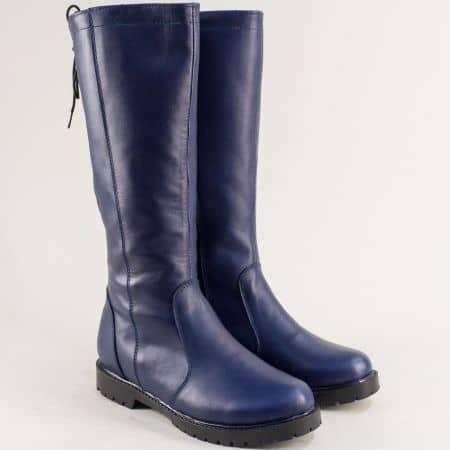 Сини дамски ботуши от естествена кожа с цип и връзки 1931711s