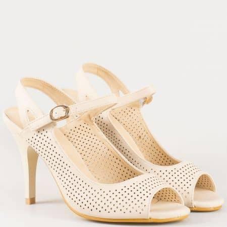 Перфорирани дамски сандали на висок елегантен ток в бежов цвят- Eliza 19318bj