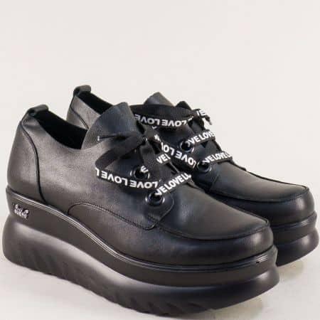Черни дамски обувки на платформа от естествена кожа  193852ch