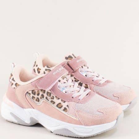 Розови детски маратонки с частичен тигров принт 194031rz