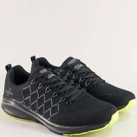 Спортни мъжки обувки в черно и зелено- MAT STAR 194042ch