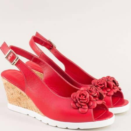 Червени дамски сандали с декорация на клин ходило  19406chv