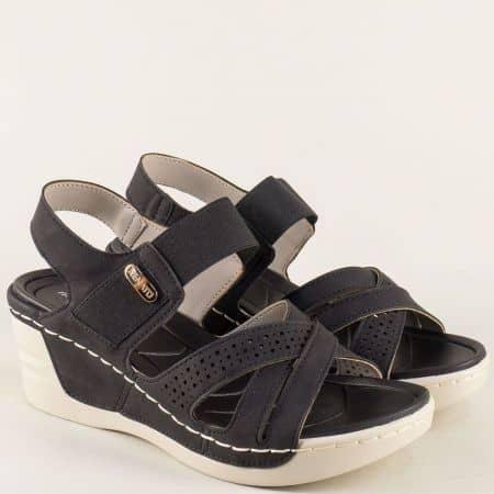 Черни дамски сандали на платформа 195003ch