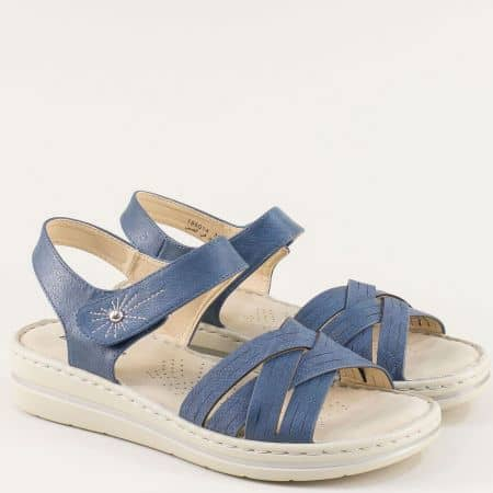 Сини дамски сандали с лепка на равно ходило- MAT STAR 195014s