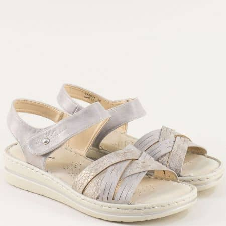 Дамски сандали в сив цвят с велкро лента- MAT STAR 195014sv