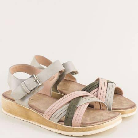 Дамски сандали в сиво, зелено и розово- MAT STAR 195015svps