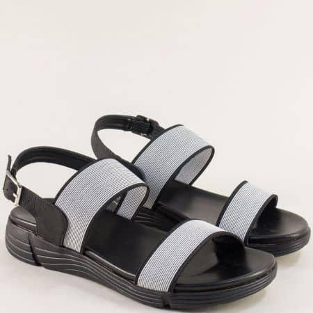 Дамски сандали- MAT STAR в сиво и черно на платформа 195024ch
