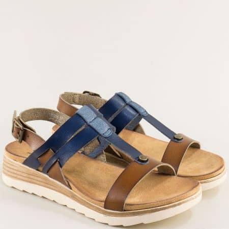 Дамски сандали- MAT STAR на платформа в кафяво и синьо 195026sk
