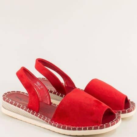 Дамски сандали на равно ходило- MAT STAR в червен цвят 195027vchv