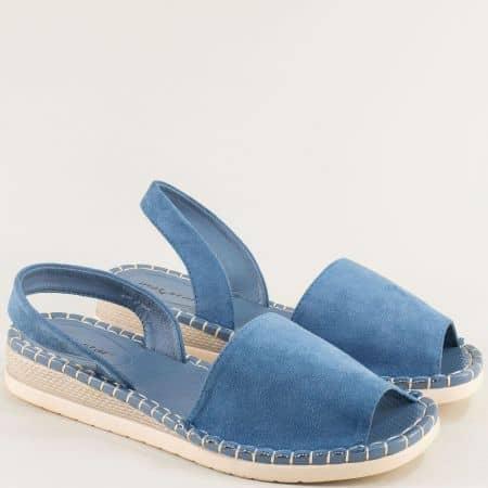 Дамски сандали на равно ходило- MAT STAR в син цвят 195027vs