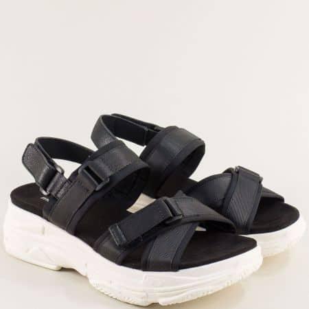 Черни дамски сандали- MAT STAR с лепки на бяла платформа  195028ch