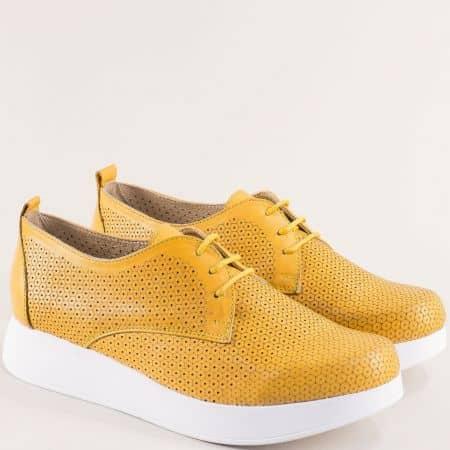 Жълти дамски обувки от остествена кожа- NOTA BENE 195131370j