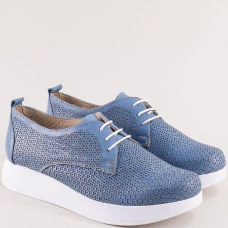 Перфорирани дамски обувки в син цвят- NOTA BENE 195131370s