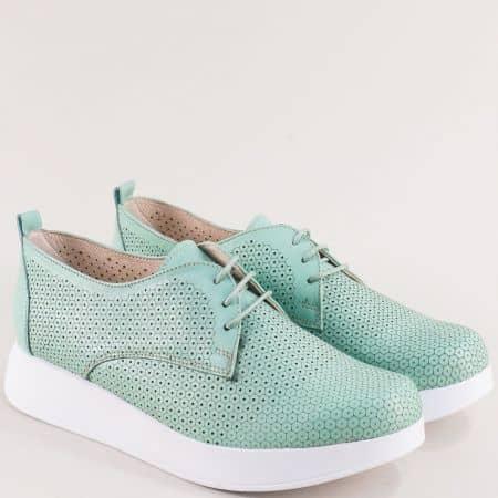Комфортни дамски обувки на платформа от естествена кожа с перфорация и връзки 195131370z