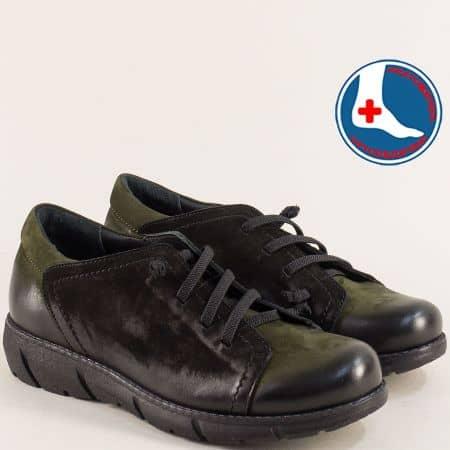 Дамски обувки от естествен набук в зелено и черно 1953702nchz