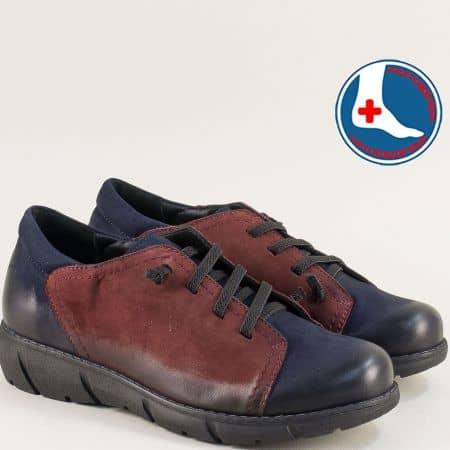 Дамски обувки от естествен набук на анатомично ходило в синьо и бордо 1953702nsbd