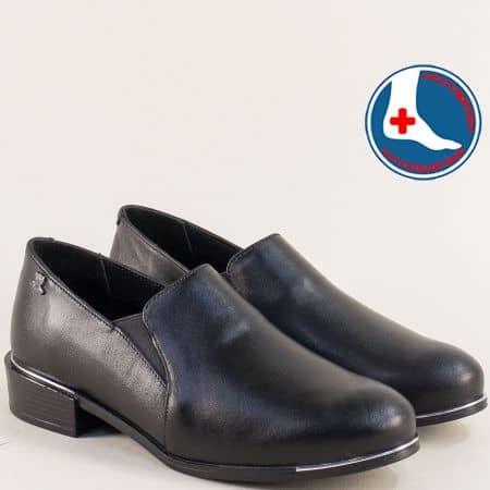 Дамски обувки с кожена ортопедична стелка в черен цвят 1954102ch