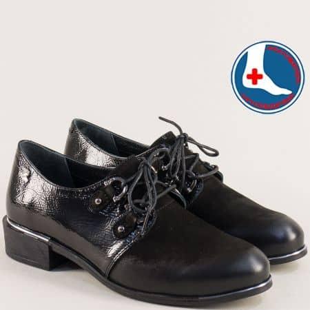 Дамски обувки от естествен лак и набук в черен цвят 1954104lchnch
