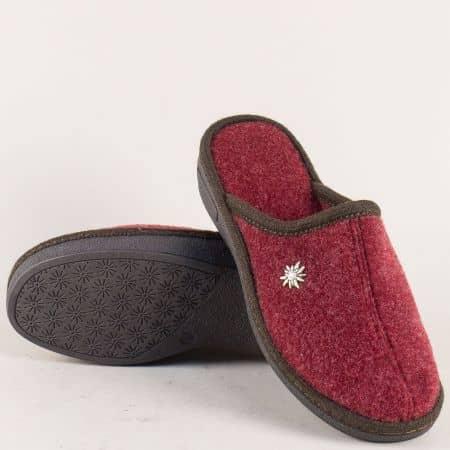 Дамски пантофи на равно ходило в цвят бордо 19617bd