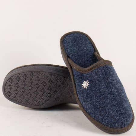 Сини дамски пантофи на равно ходило 19617s