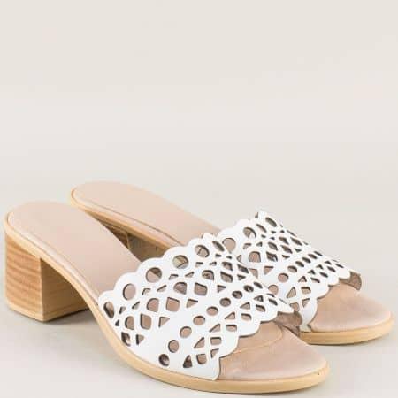 Бели дамски чехли на среден ток от естествена кожа 1961815b